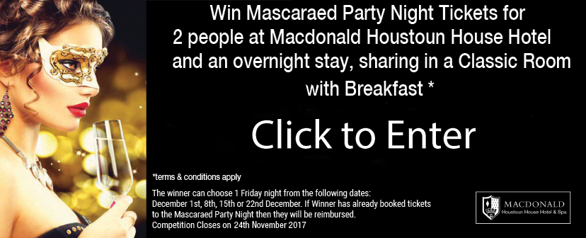 Mascaraed Party Night Tickets and overnight stay at Macdonald Houston House Hotel & Spa